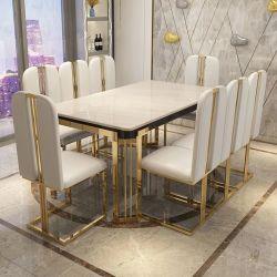 Table à manger en marbre restaurant de luxe du mobilier de ménage rectangulaire simple petit appartement et de chaises défini