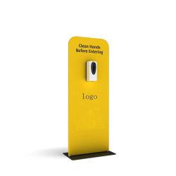 Tocar las manos libres Manos libres de PVC marca soporte higienizador Board Display Stands