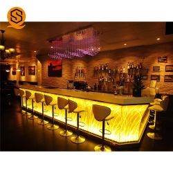 Comptoir de réception restaurant en forme de L'acrylique Mini LED moderne comptoir de bar pour la maison