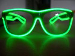 Haut lentille transparente el Fil vert lunettes 2D'ALIMENTATION PILES AA