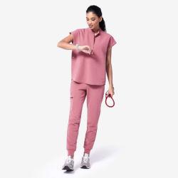 패셔너블한 디자인 모브 스크럽 병원 스탠드업 칼라 유니폼