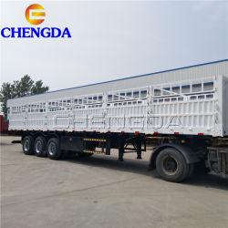 Eje 3 de 60 toneladas de cerco de servicio pesado camión de carga lateral de la caída de los remolques remolque semi