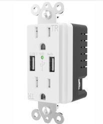 Bescheinigungs-Anschluss-Stecker Wand-Kontaktbuchse USB-intelligenter schneller Ladung USB-5A 220V weißer ETL