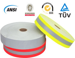 100%Cotton Fr銀、オレンジ石灰が付いている反射ファブリック警告テープ