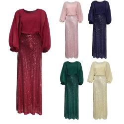 Kaftan pour les femmes à manchon long Maxi robe en mousseline robe formelle robe de soirée