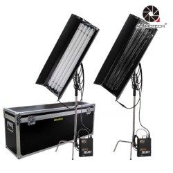 En tant que kit Kinoflo 2 300W 4ft 4Banque Caisse d'oeufs de ballast d'éclairage fluorescent Tubes C-Stand pour l'équipement photographique Studio volée Cas d'éclairage