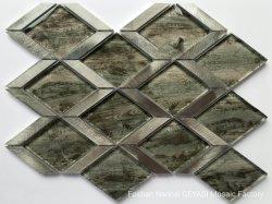 Черный металлический параллелограммной секции Special-Shaped Diamond стеклянной мозаики плитки