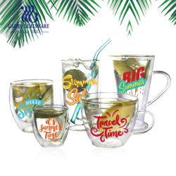 500ml kundenspezifisches Entwurfs-Drucken-Abziehbild-hochwertiger Borosilicat-klassischer Kaffee-Tee-trinkendes Becher-doppel-wandiges Glascup mit Kalibrierung (GB510020500)