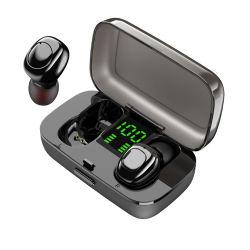 Preto Elegante no fone de ouvido Bluetooth, acessório móvel inteligente