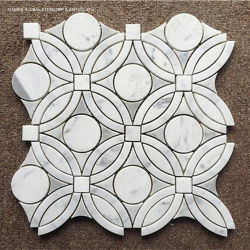 Carrara 아름다운 백색 대리석 꽃 Water-Jet 패턴 예술 모자이크 타일 벽 Backsplash 위원회