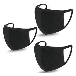 Moda Algodão Impressa Máscara de Boca do filtro de pó Facial protecção UV filhos adultos máscaras de algodão reutilizáveis Planície lavável Cor Preta Máscara de algodão