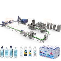شرب تلقائي بالكامل / معدني / نقي / مياه الينابيع خط الإنتاج زجاجة مياه الآلة تعبئة آلة وضع ملصق آلة تخريد آلة السعر
