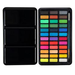 Комплект из 36 цветов акварель краски пирог с 2PC фонтан ручки кисти упакованы в окна из ПВХ с ручкой для акварель чертеж