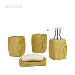 Conjunto de banho Polyresin imitado em madeira