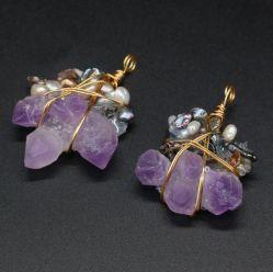 Fine Natural Stones Pings Reiki curar Amethysts Gold Color Wire Embrulha pendente Cristal para Jóias fazendo brincos de colares DIY para mulher