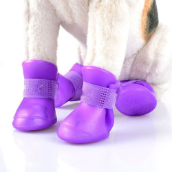 Antideslizante de caucho de silicona resistente al agua personalizada Perro zapatos para la lluvia de calor pavimento