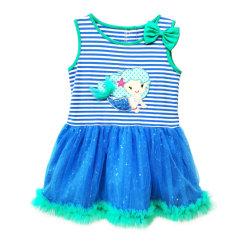 Vêtements bébé fille d'été Mermaid coton broderie Tutu Princess Sundress Stripe robe robe paillettes