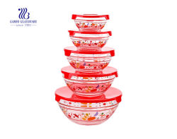 Amazon hot продажи 5ПК для хранения продуктов индивидуальные стекло крышки багажника салат чаши, хрустальное стекло чаше для смешивания (GB1401/-е)