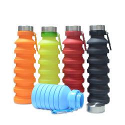 Venda por grosso de rótulo privado sem BPA Silicone vaso de dobragem colapsáveis garrafa de água para Camping Travel