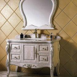 ヨーロッパ規格古典的な簡単な様式の家具のアメリカの赤いカシの純木の浴室用キャビネット