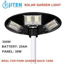 ABS 하우징 일체형 일체형 실외 조명 300W 솔라 에너지 패널 시스템 UFO 솔라 LED 가든 라이트 IP65 LED 거리 공원 야드벽 투광 램프