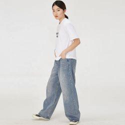 2020 Retro Moda feminina do comprimento do tornozelo soltas de calças de ganga calças jeans azul claro