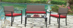 Pátio Mobiliário Alpendre define 4 Pedaços PE cadeiras de vime vime com mobiliário de jardim exterior Mesa Fixa
