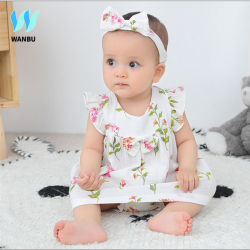 3 PCS Conjunto de ropa de bebé los hilados de algodón camiseta sin mangas de ropa de bebé el verano de 2020