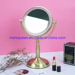 7'' 골드 양면 조명 1X/3X 또는 5X 또는 10X 또는 12X Magifying LED 메이크업 화장용 거울