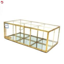 O ouro vidro espelhado Bandeja de espelho para maquiagem organizador Visor com 6 compartimentos