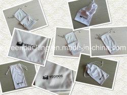 أبيض/رماديّ لون [ميكروفيبر] زجاج حقيبة/حالة مع علامة تجاريّة أسود