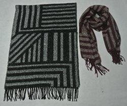 Couverture tissée de fils acryliques brossé foulard avec l'entrelacement et géométrique Fringe