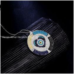 Мода красочные CZ плиты подвесной 925 Серебро цепочка