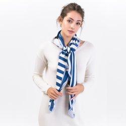 Sciarpe a strisce del quadrato di stampa della matrice per serigrafia del Blu marino-100% per le signore di modo