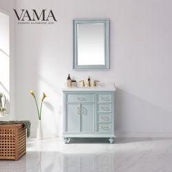 Vama 36 بوصة فاخرة الأمريكية الصلبة الخشب غرفة فردية الحمام منضدة الزينة