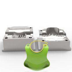 Wasserdichte Silikon-Baby-Schellfisch-Form-Plastiknahrungsmittelfangfederblech-Taschen-Form