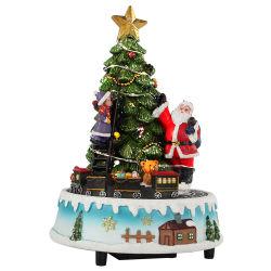 LED Polyresin Musical personnalisé rotation arbre de noël santa scène Boîte à musique de Noël animée avec Kid et train