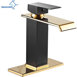 2021 Aquacubic гостевой под струей горячей воды Lead-Free латунный корпус черного цвета с золотым бассейна одной ручкой Умывальником под струей горячей воды