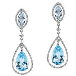 L'oro ha placcato 925 orecchini di goccia blu d'argento del diamante del Topaz