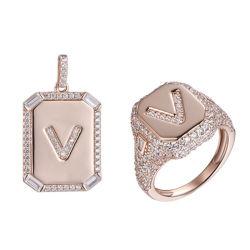 925 Silber Rose Gold Buchstabe V Fashion Anhänger und Ring Schmuck-Set für Damen