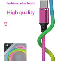 熱い販売1m 2mの3mナイロンブレードUSBのコネクターの充電器ケーブルの虹のMico USBデータ同期信号2.4amini USBケーブル速い充満ケーブル電光人間の特徴をもつタイプC USBケーブル