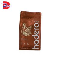알루미늄 호일 편평한 바닥 주머니를 포장하는 벨브와 버클을%s 가진 일렬로 세워진 포장 주문 지퍼 1회분의 커피 봉지 일방통행 배출