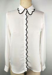 Camicie da donna ricamate in blusa intrecciata con motivo scallop