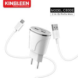 Pasador de la UE adaptable de carga rápida Kit cargador rápido de USB 2.0 (Cargador de pared + cable micro USB)