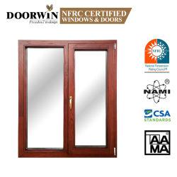 Nfrc, AAMA American triple verre trempé de certificat d'aluminium le bois d'inclinaison Cald tourner Windows