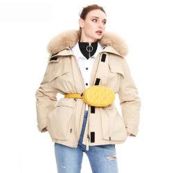 호화스러운 겨울 여자 Fox 머리 모피 고리 여자의 백색 오리 우단은 아래로 눈 Parkas를 입힌다