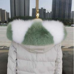 Corte personalizado Wolf tiras de tecido de peles com pêlo branco Colar 100% natural Colar de peles de raposa real para as camadas