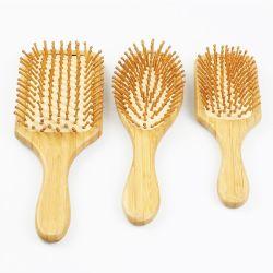 Alça de bambu com cerdas de bambu raquete escova para o couro cabeludo de massagem alavanca grande
