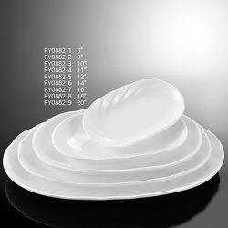 Nova chegada elegante prato de frutas da placa de porcelana Oval da onda