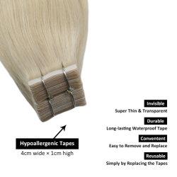 شريط شعر بشري يمدّ البشرة الناعمة الأوروبية الطبيعية بحجم 16 بوصة أسود بني أشقر 100% فيرجن ريمي الشعر 10 أجهزة كمبيوتر